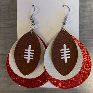 Jewelry - Football white & red faux leather earrings